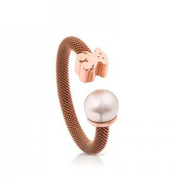 TOUS Steel and Rose Gold-Plated Bear Mesh Ring with Pearl- Size 6.5
