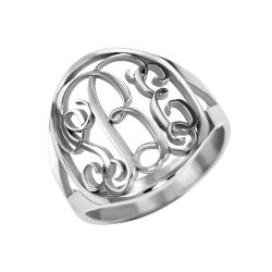 Alison and Ivy Traditional Halo Monogram Ring 18mm