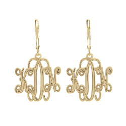 Alison and Ivy Traditional Monogram Leverback Earrings 20mm