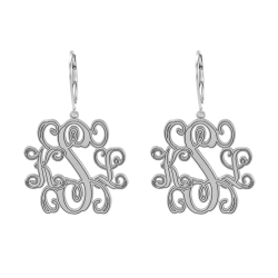 Alison and Ivy Traditional Monogram Leverback Earrings 25mm