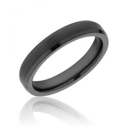 TRITON Black Tungsten Carbide Beveled Edged Comfort Fit Band 4mm