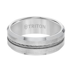 TRITON Grey Tungsten Carbide Steel Cable Center Comfort Fit Band, 8mm