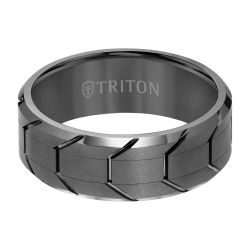 TRITON Gunmetal Tread Design Tungsten Carbide Comfort Fit Band 8mm