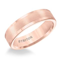 TRITON Rose Tungsten Carbide Comfort Fit Flat Band 6mm
