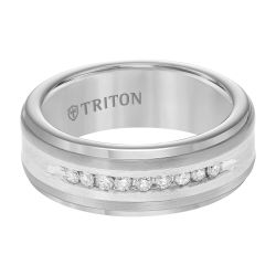 TRITON Tungsten Carbide and Sterling Silver Diamond 8mm Comfort Fit Band 1/4ctw