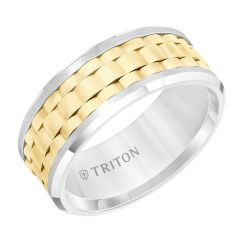 TRITON Two-Tone White Tungsten Carbibe and Yellow Gold Inlay Comfort Fit Band 9mm