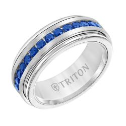 TRITON White Tungsten Carbide Blue Sapphire Band 8mm