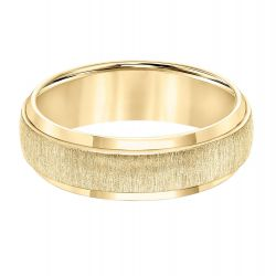 TRITON Yellow Tungsten Carbide Brushed Texture Comfort Fit Band 7mm