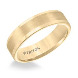 TRITON Yellow Tungsten Carbide Comfort Fit Flat Band 6mm