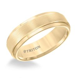 TRITON Yellow Tungsten Carbide Step Edge Comfort Fit Band 7mm