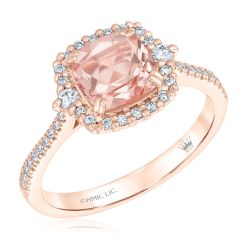 True by Hallmark Bridal Cushion Morganite and Diamond Halo Engagement Ring 1/3ctw