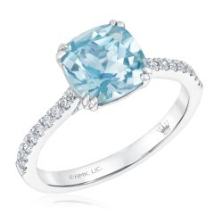 True by Hallmark Bridal Cushion Sky Blue Topaz and Diamond Engagement Ring 1/5ctw