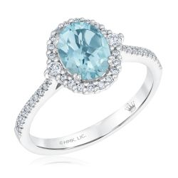 True by Hallmark Bridal Oval Sky Blue Topaz and Diamond Halo Engagement Ring 1/3ctw