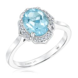 True by Hallmark Bridal Oval Sky Blue Topaz and Diamond Quatrefoil Engagement Ring 1/10ctw