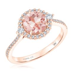 True by Hallmark Bridal Round Morganite and Diamond Halo Engagement Ring 1/3ctw