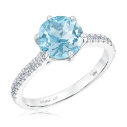 True by Hallmark Bridal Round Sky Blue Topaz and Diamond Engagement Ring 1/6ctw