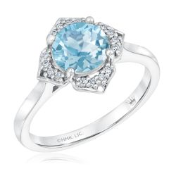 True by Hallmark Bridal Sky Blue Topaz and Diamond Quatrefoil Engagement Ring 1/10ctw