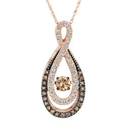 Twinkling Natural Champagne Diamond Teardrop Pendant 3/8ctw
