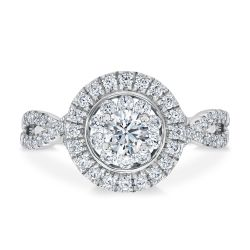 Ellaura Timeless Twisting Multi-Diamond Round Halo Engagement Ring 1ctw