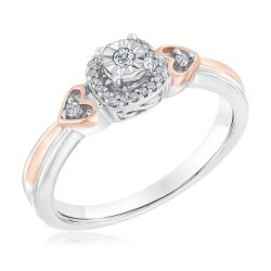 Two-Tone Diamond Cushion and Double Heart Promise Ring 1/10ctw