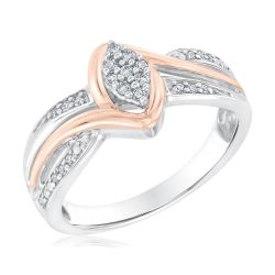 Two-Tone Marquise Shape Diamond Ring 1/8ctw