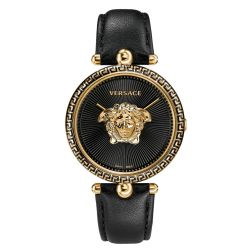 Versace Palazzo Empire Black Dial Black Leather Strap Watch VCO020017