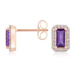 Vintage-Inspired Amethyst and Created White Sapphire Halo Earrings