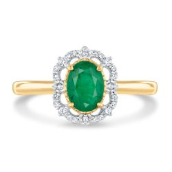 Vintage-Inspired Oval Emerald and Diamond Accent Ring