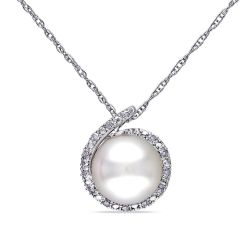 White Freshwater Cultured Pearl and Diamond Drop Pendant 1/15ctw