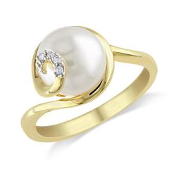 White Freshwater Cultured Pearl and Diamond Gold-Plated Swirl Ring