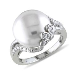 White Freshwater Cultured Pearl and Diamond Sterling Silver Floral Ring 1/20ctw