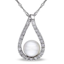 White Freshwater Cultured Pearl Diamond Teardrop Pendant 1/10ctw