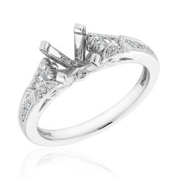 White Gold Diamond Milgrain Semi-Mount Ring 1/5ctw