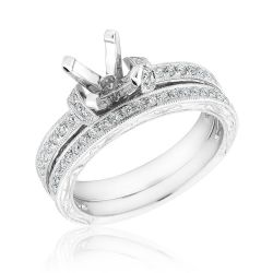 Ellaura Design White Gold Diamond Semi-Mount Milgrain Bridal Set 1/3ctw