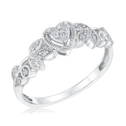 White Gold Heart and Leaf Diamond True Promise Ring 1/8ctw