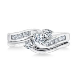 Ellaura Journey White Gold Round Diamond Engagement and Wedding Ring Bridal Set 1/2ctw