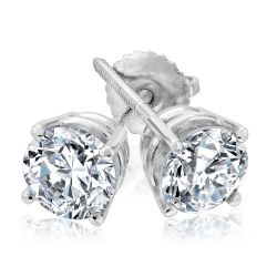 Classic Round Diamond Solitaire Earrings 1 1/2ctw