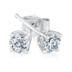 White Gold Round Diamond Solitaire Stud Earrings 1/2ctw