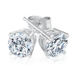 White Gold Round Diamond Solitaire Stud Earrings 1 1/2ctw