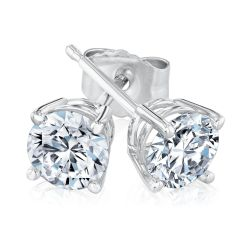 White Gold Round Diamond Solitaire Stud Earrings 1ctw