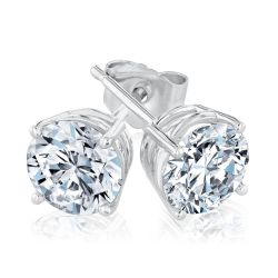 White Gold Round Diamond Solitaire Stud Earrings 2ctw
