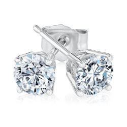White Gold Round Diamond Solitaire Stud Earrings 3/4ctw