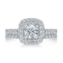 Ellaura Timeless Square Frame Round Diamond Engagement and Wedding Ring Bridal Set 2ctw
