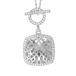 With You Lockets Amelia White Topaz Sterling Silver Toggle Locket