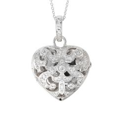 With You Lockets Deirdre Sterling Silver White Topaz Heart Locket