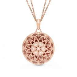 With You Lockets Elaine Rose Gold-Plated and Diamond Locket 1/15ctw