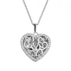 With You Lockets Mary Sterling Silver White Topaz Heart Locket