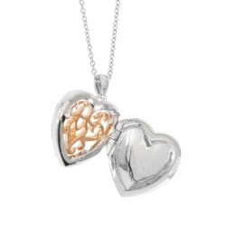 With You Lockets Mary Two-Tone White Topaz Heart Locket