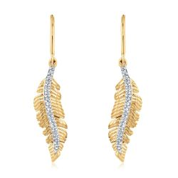 Yellow Gold Diamond Feather Drop Earrings 1/15ctw