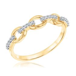 Yellow Gold Diamond Oval Link Ring 1/10ctw